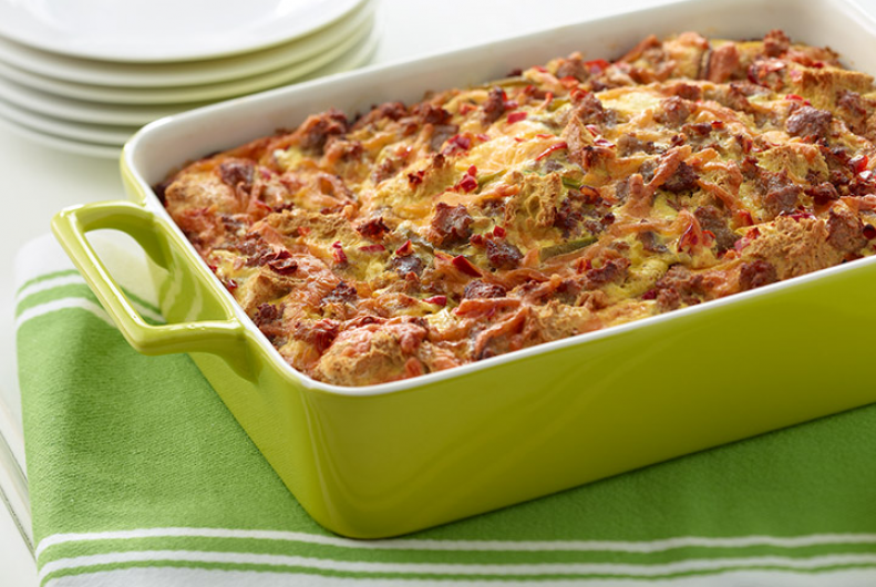 Breakfast Casserole with Turkey Sausage, Mushrooms, and Tomatoes